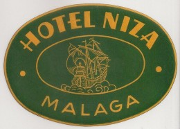 Hotel Label - Spain - Malaga - Hotel Niza - España Etiquette Publicité - Label Publicity - Etichetta Pubblicita - Etiketten Van Hotels