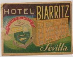 Hotel Label - Spain - Sevilla - Hotel Biarritz - España Etiquette Publicité - Label Publicity - Etichetta Pubblicita - Etiquettes D'hotels