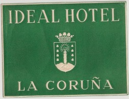 Hotel Label - Spain - La Coruña - Ideal Hotel - España Etiquette Publicité - Label Publicity - Etichetta Pubblicita - Hotel Labels