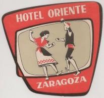 Hotel Label - Spain - Zaragoza - Hotel Oriente - España Etiquette Publicité - Label Publicity - Etichetta Pubblicita - Hotel Labels