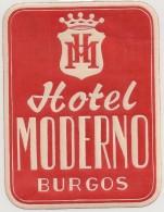 Hotel Label - Spain - Burgos - Hotel Moderno - España Etiquette Publicité - Label Publicity - Etichetta Pubblicita - Hotel Labels