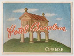Hotel Label - Spain - Orense - Hotel Barcelona - España Etiquette Publicité - Label Publicity - Etichetta Pubblicita - Etiketten Van Hotels