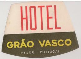 Hotel Label - Portugal - Viseu - Hotel Grão Vasco - Etiquette Publicité - Label Publicity - Etichetta Pubblicita - Etiquetas De Hotel