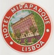Hotel Label - Portugal - Lisboa - Hotel Miraparque - Etiquette Publicité - Label Publicity - Etichetta Pubblicita - Hotel Labels