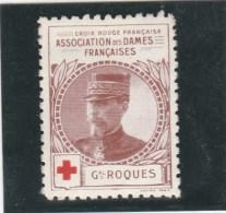 Vignette Militaire Croix Rouge - Association Des Dames Françaises - Général Roques - Commemorative Labels