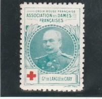 Vignette Militaire Croix Rouge - Association Des Dames Françaises - Général De Langle De Cary - Commemorative Labels