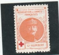 Vignette Militaire Croix Rouge - Association Des Dames Françaises - Général Humbert - Commemorative Labels