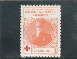 Vignette Militaire Croix Rouge - Association Des Dames Françaises - Général Sarrail - Commemorative Labels