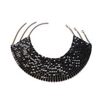 Tour De Cou Collier Bijoux Métal Laqué Noir Articulé Choker - Necklaces/Chains