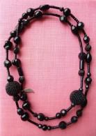 Long Collier Perles De Verre Vintage 100cm Créateur Folic Noir Necklace - Necklaces/Chains