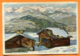 FAO-17  Chalets In Obersaxen De Wieland. Gelaufen In 1930, Pro Juventute. - GR Grisons