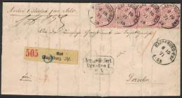 """1871, Paketbegleitbrief Mit 4 Exemplaren 1 Groschen Ab MAGDEBURG-BHF Nach Dresden. Mit 8-eck-Stempel """"""""Ausgeliefert Dres - Norddeutscher Postbezirk"""