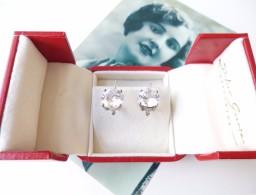 Boucles D'oreilles Ancienne Dormeuse Argent 925 Sterling Diamant De Synthèse - Earrings