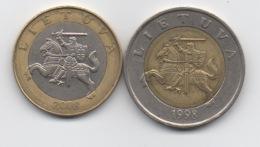 Lituanie : Lot De 2 Pièces BIMETAL : 2 Litai 2008 & 5 Litai 1998 - Lituania