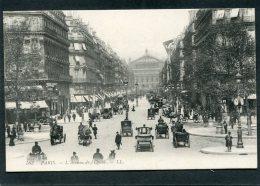 CPA - PARIS - L'Avenue De L'Opéra, Très Animé - Automobiles, Attelages - Arrondissement: 01