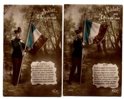 Carte Postale Salut Au Drapeau Français 1er Couplet Et 2ème Soldat Militaria CKP 3528 (2 Cartes) - Guerra 1914-18