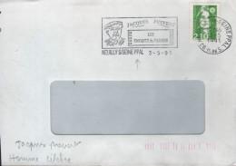 """Lettre Flamme =o 92 Neuilly -sur-Seine 3-5 1991 """" Jacques Prévert (acteur Et Cinéaste) - Acteurs"""