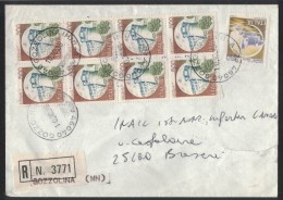 AA1033      Italia Storia Postale 1995 - Racc. Gozzolina (MN) Blocco  Castelli 8 X £500 + 150 - 1946-.. République