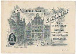 Carte Visite Publicité. Serrurerie/Quincaillerie F.Staadt. A La Presse. Bruxelles. Grand'Place. - Cartes De Visite