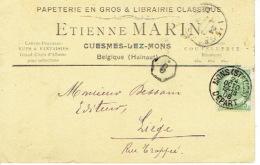CP/PK Publicitaire CUESMES-LEZ-MONS 1906 - Etienne MARIN - Librairie-maroquinerie-coutellerie-papeterie - Courcelles