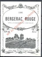 300 - Bergerac Rouge - 1986 - Mis En Bouteille Par Castel Frères - Négociants à Blanquefort - Gironde - Bergerac