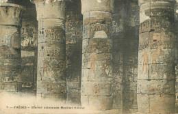 Egypte - Egypt - Thebes - Intérior Colonnade Medinet Habout - Carte Toilée Couleurs - état - Ägypten