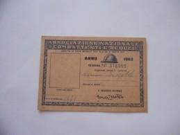 TESSERA ASSOCIAZIONE NAZIONALE COMBATTENTI E REDUCI 1963 - Altri