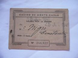 TESSERA BIGLIETTO D'INGRESSO CASINò DI MONTECARLO 1941 - Altri