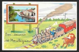 MONTIGNAC Rare Fantaisie Bon Souvenir Train (J.P) Dordogne (24) - Francia