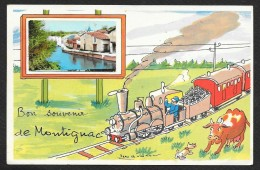 MONTIGNAC Rare Fantaisie Bon Souvenir Train (J.P) Dordogne (24) - Other Municipalities