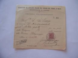 RICEVUTA CAVALIERI DEL SOVRANO ORDINE DI MALTA MILANO 1928 - Nuovi