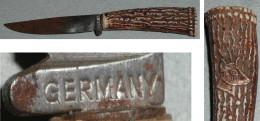 Rare Ancien Petit Couteau Manche Plastique Tête De Cerf Chevreuil Lame Germany, Jeu Jouet Déguisement - Oud Speelgoed
