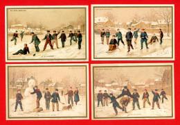 Au Bon Marché, Série Complète 6 Chromos Lith. Minot MI-13 Divertissements D'hiver, Neige, Glissade, Patinage - Au Bon Marché