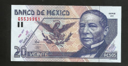 MEXICO - El BANCO De MEXICO - 20 PESOS (1998) - JUAREZ / Serie AV - Messico