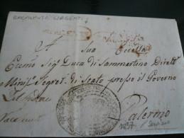 Racalmuto Con Girgenti Real  Servizio 1837 Completa Di Testo Per Palermo J6 Febb 1837 - Italia