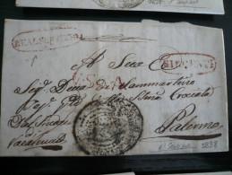 Racalmuto Con Girgenti Real  Servizio 1838 Completa Di Testo Per Palermo 8 Febb 1838 - 1. ...-1850 Prefilatelia