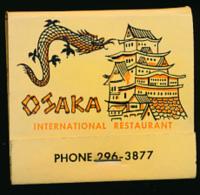 "Pochette D´allumettes:""Osaka Restaurant"" Japanese, Chinese, American, Polynesian, Washington, Etats-Unis (3 Scans) - Matchboxes"