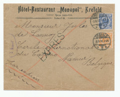 ALLEMAGNE EXPRES - RARE Lettre TP Empire 20 + 25 Pfg CREFELD 1900 Vers NAMUR Belgique  --  WW751 - Germany