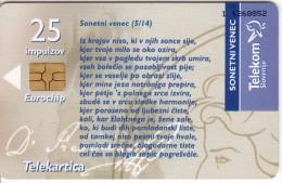 SLOVENIA SLOVENIJA PHONECARD 2006 PRESEREN SONETNI VENEC WREATH OF SONNETS 5/14 TELEKOM CAT.NO.696 - Slovénie