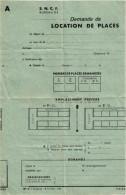S.N.C.F.  .. DEMANDE DE LOCATION DE PLACES .. CHEMIN DE FER ... TRAIN - Titres De Transport
