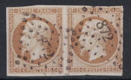 France - Napoleon N°13 Bistre Foncé PAIRE OBLITEREE Verso SANS DEFAUT / Oblitération PC 872 Clairac Lot-et-Garonne - 1853-1860 Napoleone III
