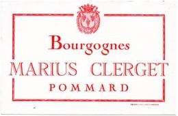 Buvard Vin Marius Clerget, Bourgognes, Pommard. Vigne, Vignoble, Viticulture. - Buvards, Protège-cahiers Illustrés