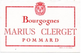 Buvard Vin Marius Clerget, Bourgognes, Pommard. Vigne, Vignoble, Viticulture. - Blotters