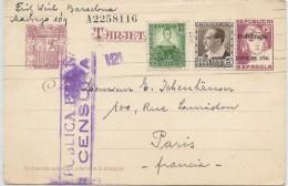 LCTN41- ESPAGNE EP CP DE BARCELONE A DESTINATION DE PARIS SEPTEMBRE 1937 CENSURE - Entiers Postaux