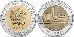 """POLAND    5 Zlotes   2.016  2016     Bimetálica """"Księży Młyn En Lodzmol""""    SC/UNCirculated  T-DL-11.750 - Poland"""