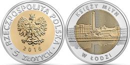 "POLEN    5 Zlotes   2.016  2016     Bimetálica ""Księży Młyn En Lodzmol""    SC/UNCirculated  T-DL-11.750 - Pologne"