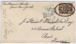 LCTN41- ETATS UNIS LETTRE BOSTON / PARIS MAI 1886 - 1847-99 Emissions Générales