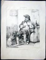 MUSIQUE VIOLON  LITHOGRAPHIE  REPRESENTANT UN ANCIEN MILITAIRE JOUANT DU VIOLON  DOCUMENT ANCIEN VERS 1840 - Musique & Instruments