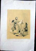MUSIQUE VIOLON  LITHOGRAPHIE DEUX TONS   REPRESENTANT UNE LECON DE VIOLON  VERS 1840 - Music & Instruments