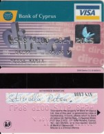 CYPRUS - Direct, Bank Of Cyprus Visa(silver Letters, Reverse Oberthur), 03/00, Used - Cartes De Crédit (expiration Min. 10 Ans)